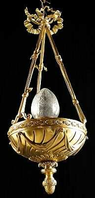 Antique French empire style bronze chandelier Central glass tulip (1132)
