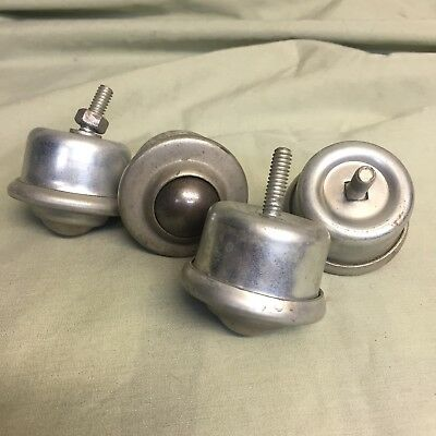 Vintage Roller Steel Ball Bearing Wheel Caster With Threaded Stems Set Of 4