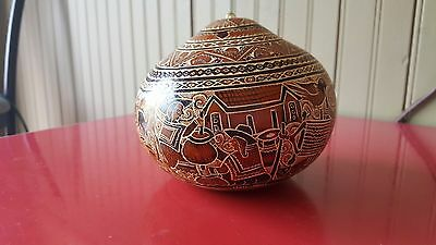 Hand-carved Signed Peruvian Gourd
