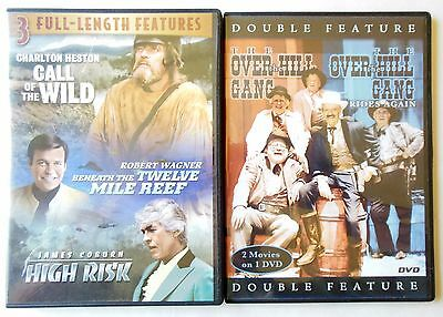 Lot of 2 DVDs (5 Movies) Call of the Wild High Risk Over the Hill Gang & More