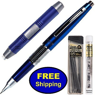 Pentel Sharp Kerry Mechanical Pencil, P1035C Blue Barrel, 0.5 mm 4-Piece Set