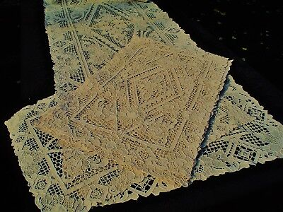 Vintage or Antique Italian Hand Made Needle Lace 14 pc Placemats/Naps & Runner