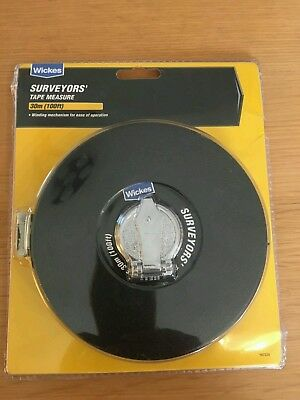 Wickes Tape Measure Surveyors 30m Measuring 100ft Builders Metric Fibreglass New