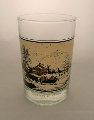 CURRIER & IVES Arby's Collector's Glass 1981 American Farm in Winter Sleigh