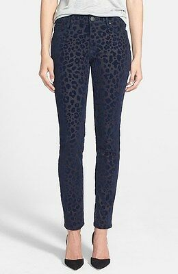 $228 True Religion Halle Mid Rise Super Skinny Jeans Blue Leopard Velour Flocked