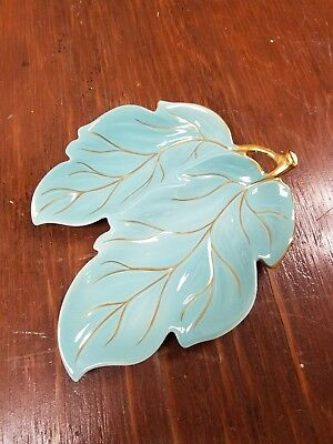 CARLTONWARE HAND PAINTED WITH GOLD & TURQUOISE Double Leaf Dish