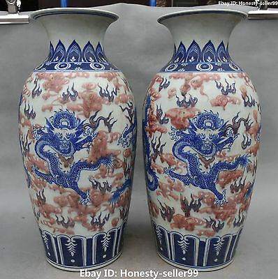 """16""""Chinese Porcelain Ancient Dynasty Dragon Loong Flower Vase Bottle Pair Statue"""