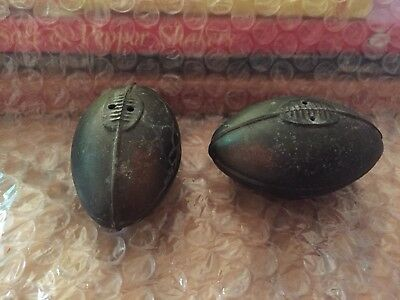 Vintage Bronze Football Salt And Pepper Shakers