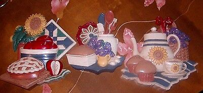 1997 Home Interiors 3 Piece Set, Kitchen Bake Theme Wall Plaques