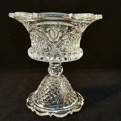 Compote Clear Crystal Cut Etched Flowered Glass Compote Vintage