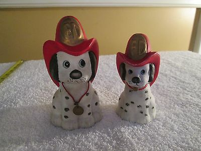 2 Vtg Jasco Firehouse Fireman Dog Dalmatian Puppy Piggy Bank #4 Bell #2 w/ Hats