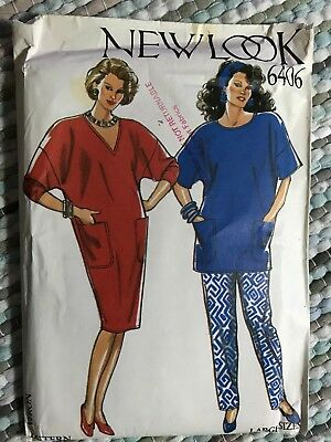 Vintage Sewing Pattern  Dress Top Pants Uncut Large Size 18 to 26 New Look 6406