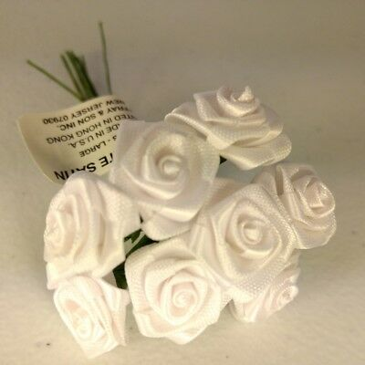 Lot of 528 White Satin Miniature Large Wrap Roses Wedding Flower Craft Picks