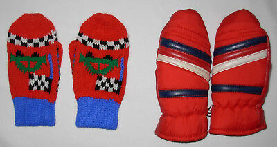 New Toddler Knitted Mittens Fits Ages 3 / 4 & Red Snow Mittens Ages 3 - 6