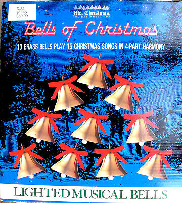 Vtg MR. CHRISTMAS BELLS OF CHRISTMAS PLAYS 15 SONGS WHILE BELLS BLINK TESTED IOB