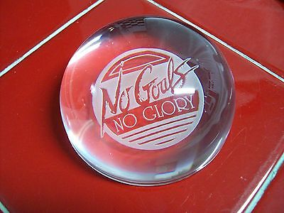 """Etched """"No Goals No Glory"""" Round Half Globe Solid Glass Paperweight Clear"""