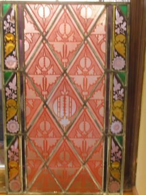 "Antique Leaded Glass Painted Window Panel 16"" x 26"" Vintage Victorian"