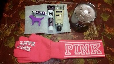 VS PINK Candle, Gloves & Headband Set, Hand Creams, Lip Balm & Dog Keychain