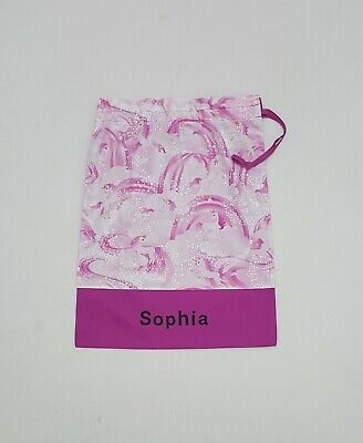 Free Name Magenta Rainbow Unicorn Personalised Embroidery Library Bag Fd