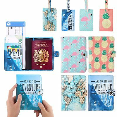 UK Passport Cover Wallet Card Holder+Luggage Address ID Tag Travel Accessories