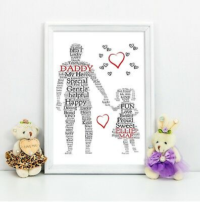 Fathers Day Gift Dad Daddy Daughter Personalised A4 Print Birthday Present
