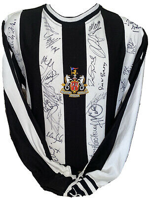 Signed Newcastle Legends RARE 1970's to Now shirt Shearer Beardsley Moncur