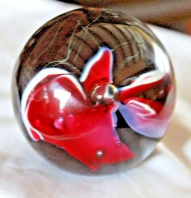 Vintage Murano? Art Glass Paperweight Deep Burgandy Color Floral