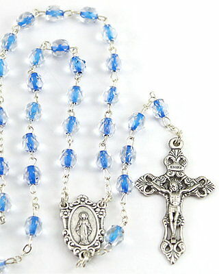 New Made In Italy Sapphire Blue Soul Glass Bead Rosary -Beautiful & Unique Beads