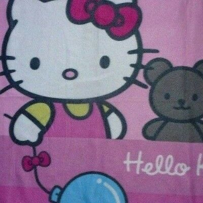 Hello Kitty by SANRIO LICENSE*133x163cm*Teddy Fleece-Plüsch-Decke*Pink Rosa Blau