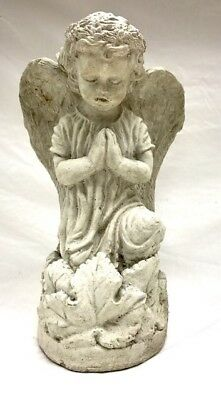 "Vintage Cement Garden Praying Angel 13"" H Large Concrete Statue Weathered Art"