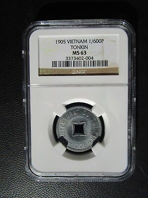 1905 Vietnam Tonkin 1/600 Piastre NGC MS 63 French Indo-China