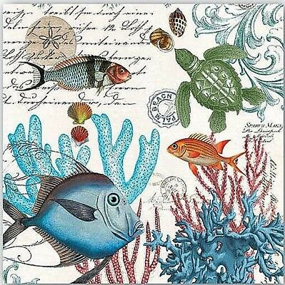 TWO (2) Sea Life, Fish, Turtles, Coral, Cocktail Napkins for Decoupage