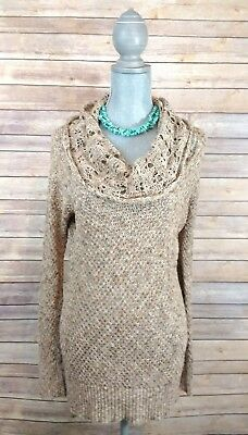 Jessica Simpson sz Small Maternity Sweater Cowl Tunic Knit light weight brown