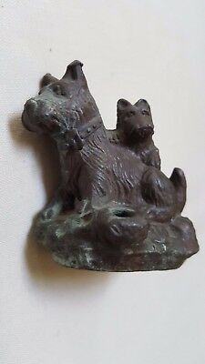 Vintage Cast Metal (?May Be Bronze?) Mother Terrier Dog & Pup Figurine Used Good