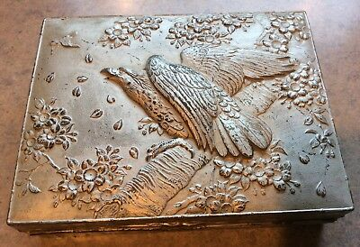 "WHITMAN'S CANDY BOX :: 7"" REPOUSSE EAGLE BLOSSOM Copper Metal Wood Phila JAPAN"