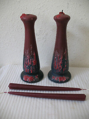 Van Briggle Art Pottery Mulberry Candlestick Pair Candle Holders