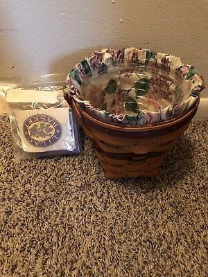 Longaberger 1994 May Series Lilac Basket+Liner+Protector+Tie-On Nice!