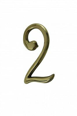 "Bright Solid Brass 3"" Address House Number '2' Pin Mount 