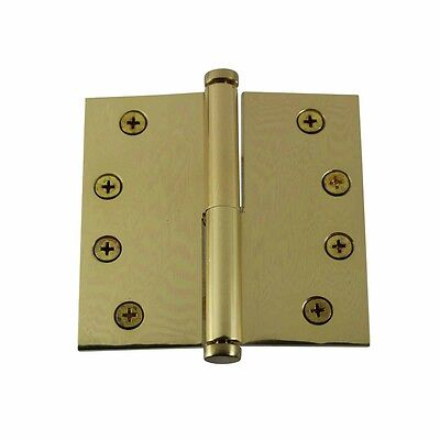4 in. Lift Off Right Brass Door Hinge Vintage Coin Tip | Renovator's Supply