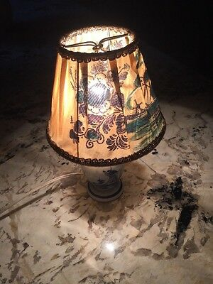 Vintage Small Hand Painted Holland Candle Lamp - Works - Beautiful Little Lamp!