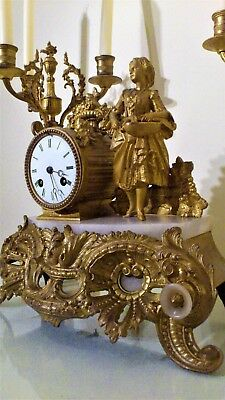 Antique French Gilt and White Stone Figural Mantel Clock.