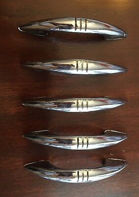 Lot of 5 Vintage Chrome Midcentury Retro Drawer Cabinet Pulls DIY Home Decor