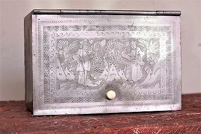 Early 19th Century Chinese Export Pewter laquer Tea Canister Box liner W/ Knob
