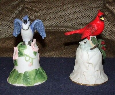 Set of 2 Avon Blue Jay and Cardinal Bells Collectibles
