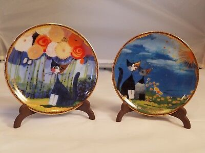 """Pair Miniature Plates & stands Goebel Rosina Wachtmeister Abstract Cat 3 3/4"""""""