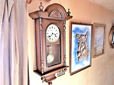 Vintage Centurion 35 Day Two Tone Chiming Wall Clock With Key