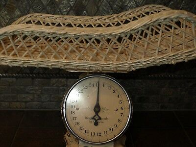 Vintage/Antique Baby Scale-Chippy Paint Rattan Basket for Baby-V