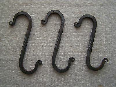 Lot Of 3 Vintage Wrought Iron Twisted Pot Rack S Hook Hangers Primitive Kitchen