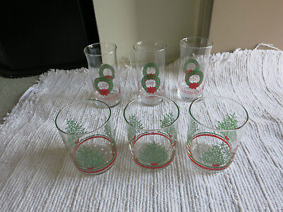 6 Libbey Christmas Beverage Glasses~Vtg Libby Holiday Glasses~wreath, tree,snow!