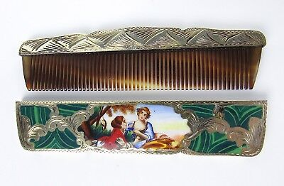 Antique Vintage Victorian Ornate Etched Sterling Silver Enameled Comb Case Italy